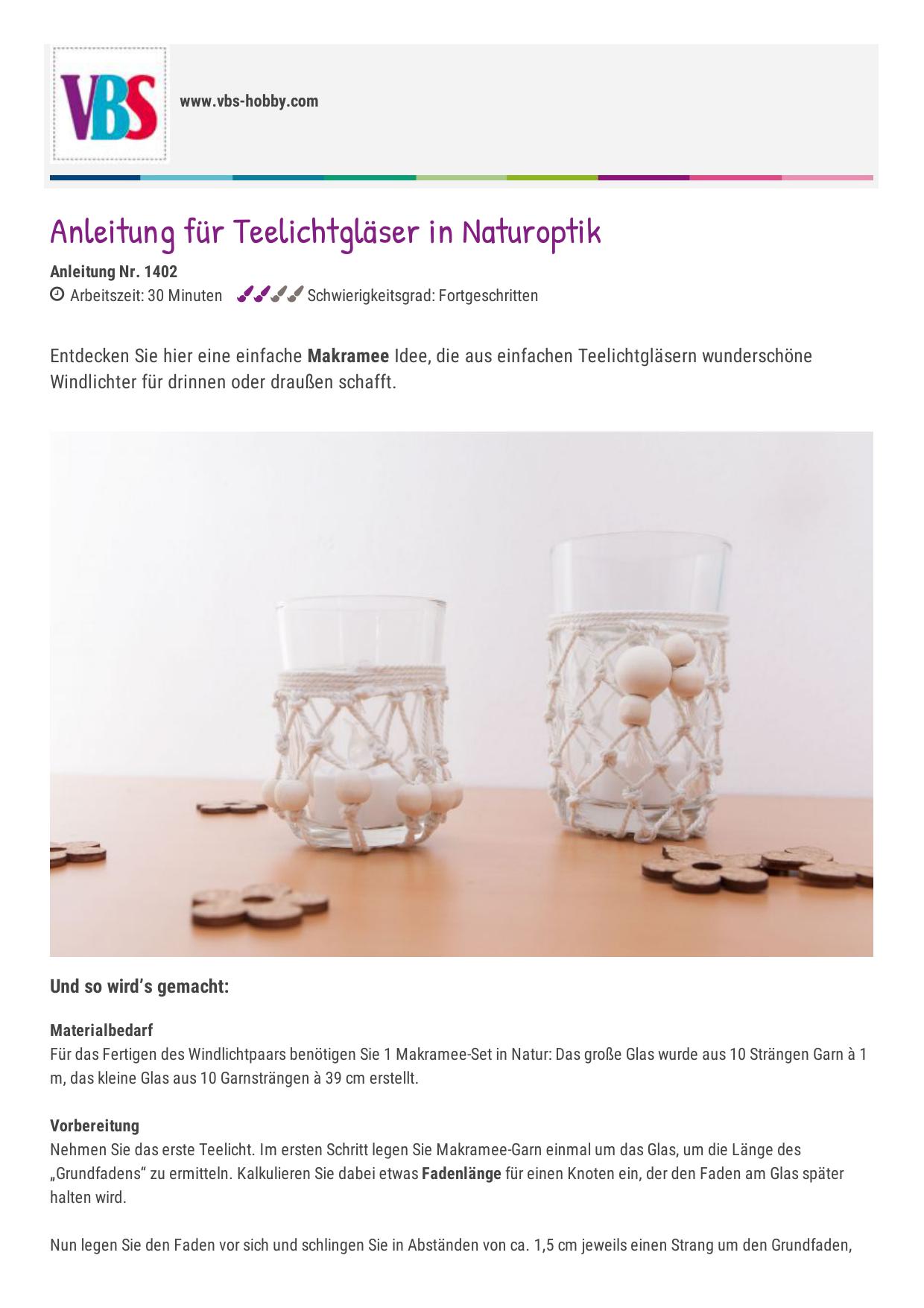 Anleitung für Teelichtgläser in Naturoptik  VBS Hobby Bastelshop