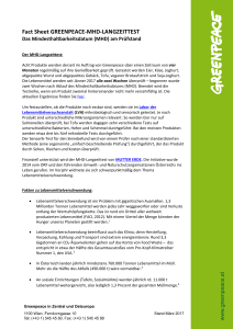 Fact Sheet GREENPEACE-MHD-LANGZEITTEST