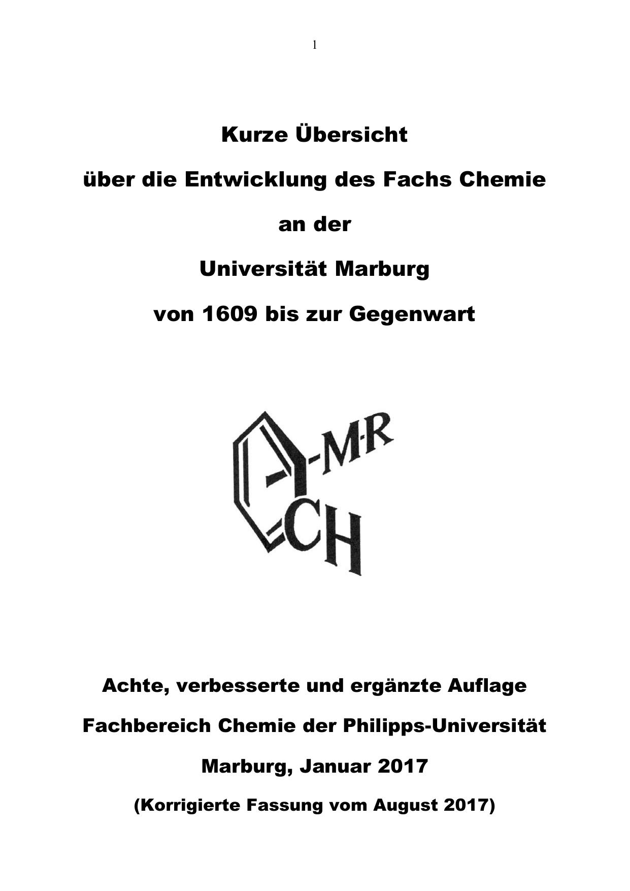 Zur Geschichte des Faches Chemie