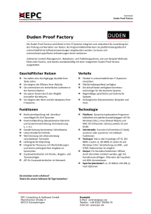 Factsheet Duden Proof Factory - EPC Consulting und Software GmbH