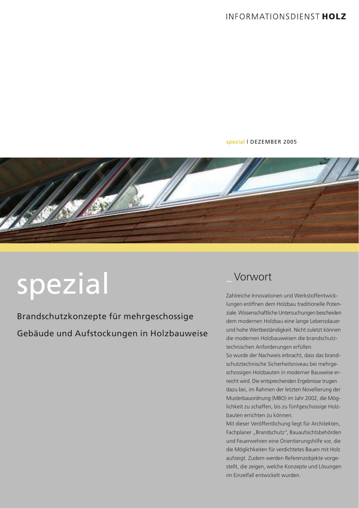 Informationsdienst Holz spezial: Brandschutzkonzepte für
