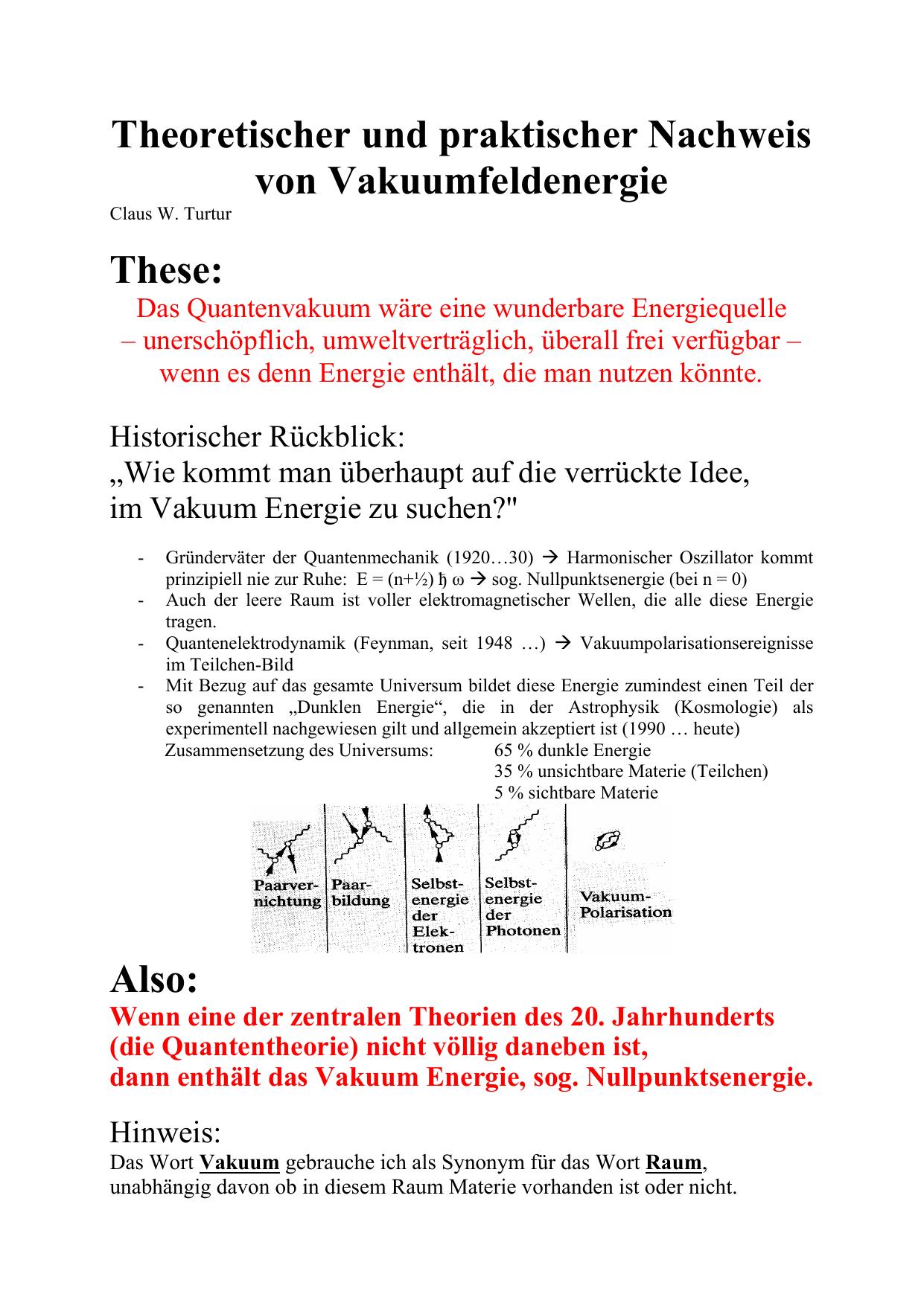 Theoretischer und praktischer Nachweis von Vakuumfeldenergie