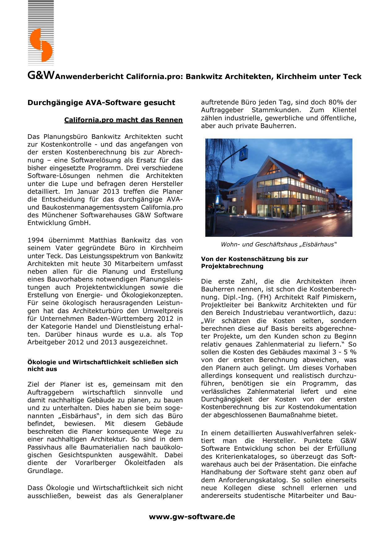 Anwenderbericht California Pro Bankwitz Architekten Kirchheim