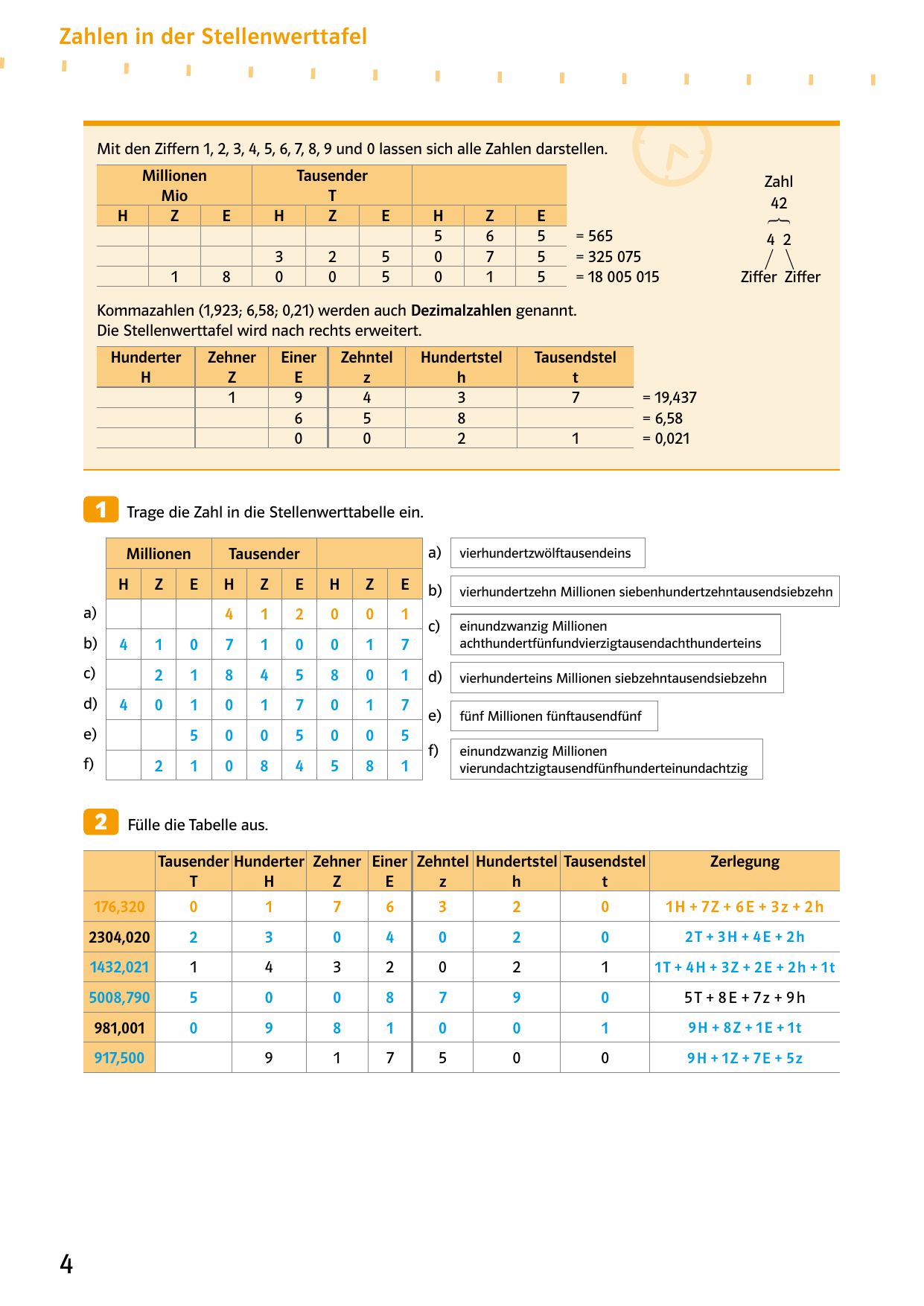 Zahlen in der Stellenwerttafel