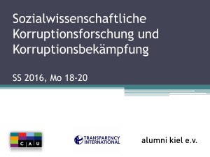 Korruption – ein Element moderner Kulturen?