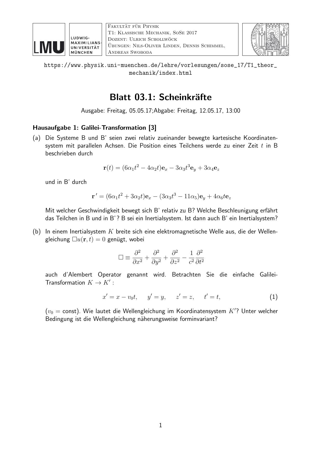 Blatt 03.1: Scheinkräfte
