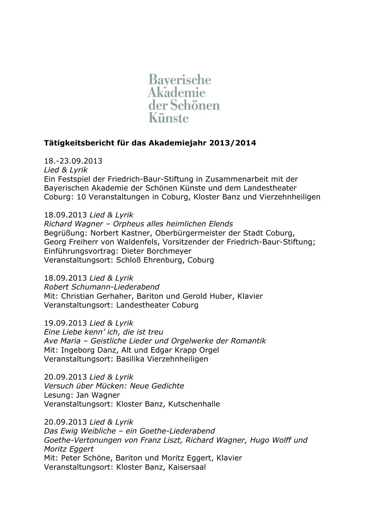 Tätigkeitsbericht Für Das Akademiejahr 20132014