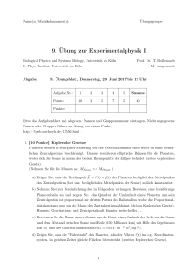 9. Übung zur Experimentalphysik I - Biological Physics and Systems