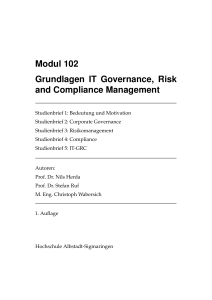 Modul 102 Grundlagen IT Governance, Risk and