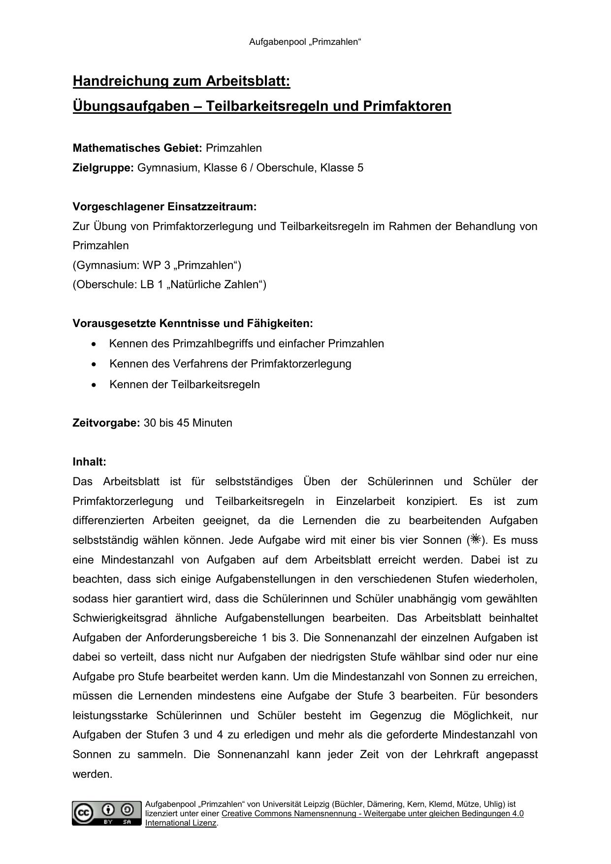 Teilbarkeitsregeln und Primfaktoren