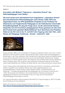 "Innovation oder Mythos? Tagung zur ""Laboratory School"" des"