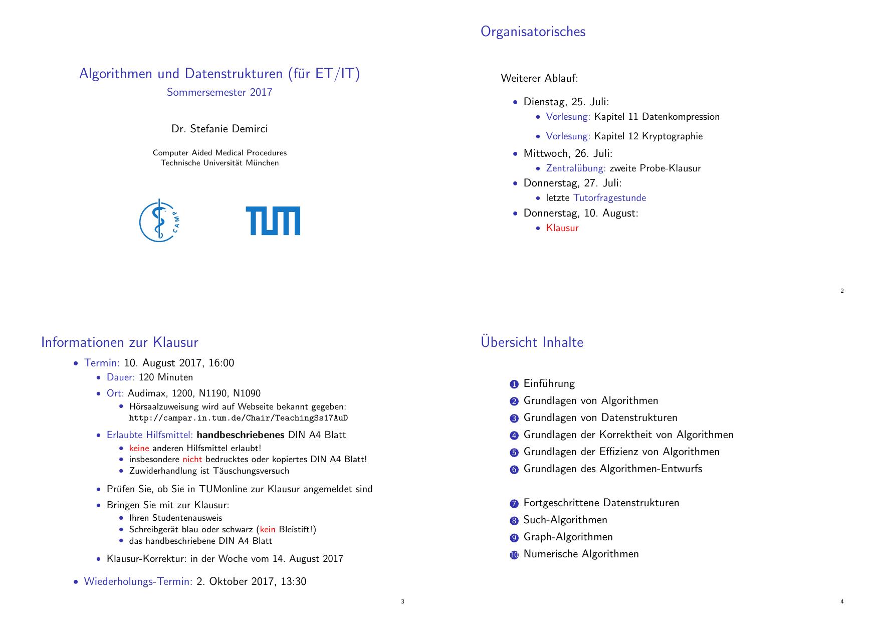 Algorithmen und Datenstrukturen (für ET/IT - CAMP-TUM