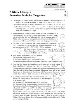 7. Klasse L¨osungen 7 Besondere Dreiecke, Tangenten 09