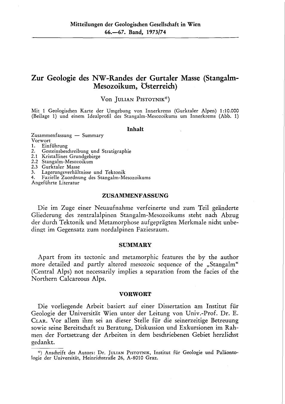 Stangalm- Mesozoikum, Österreich