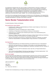 Senior Berater Testautomation (m/w)