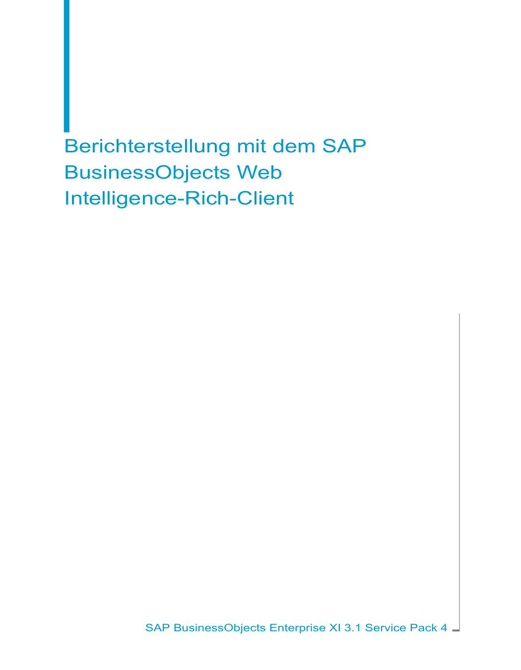 Berichterstellung mit dem SAP BusinessObjects