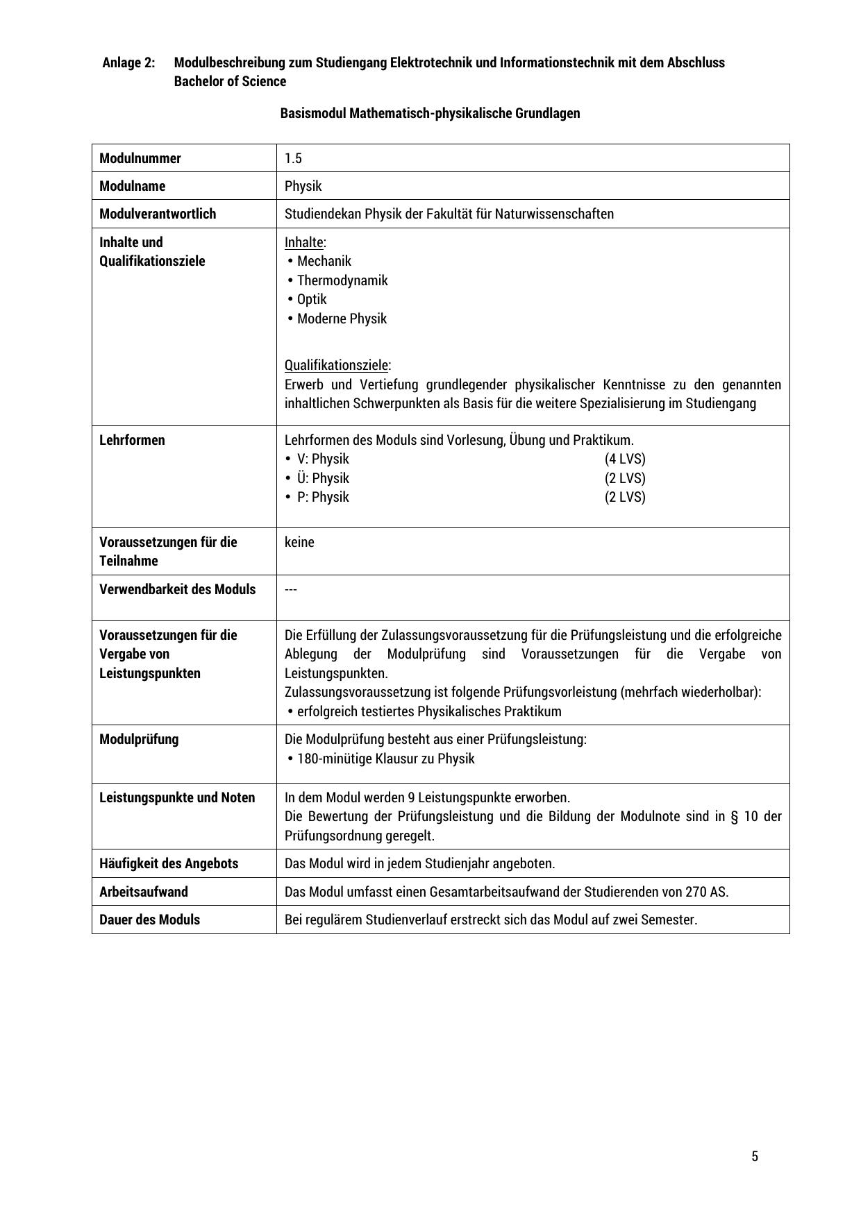 Anlage 2: Modulbeschreibung zum Studiengang Elektrotechnik und