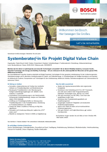 Systemberater/-in für Projekt Digital Value Chain - Bosch