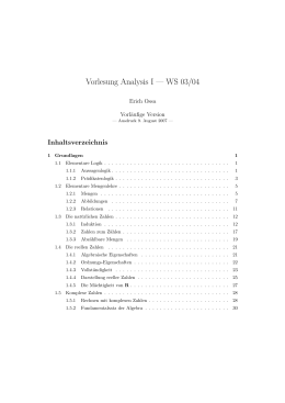 Vorlesung Analysis I — WS 03/04