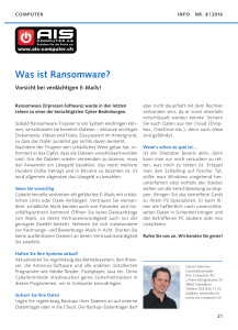 Was ist Ransomware? - AIS