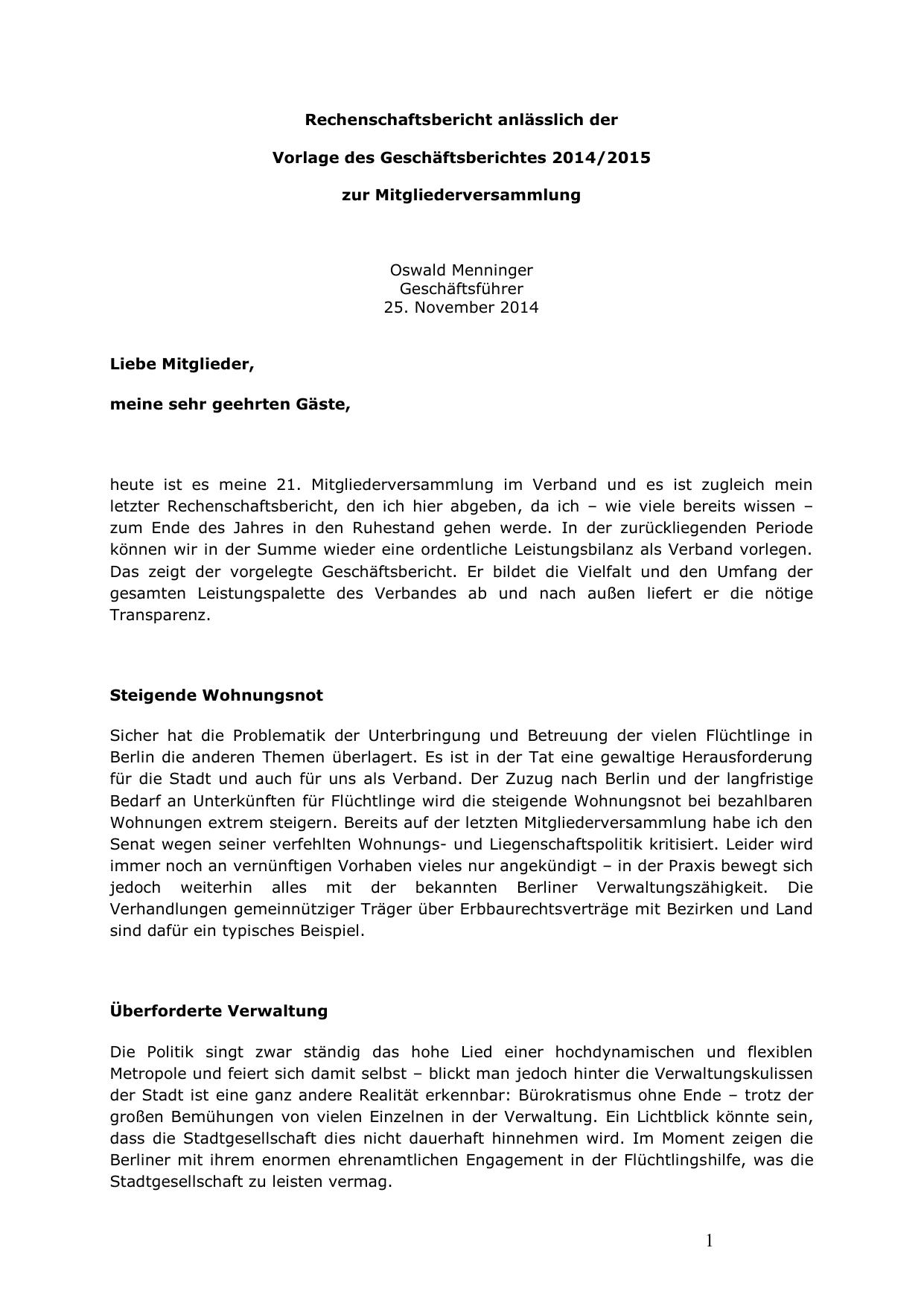 Rechenschaftsbericht Anlasslich Der Vorlage Des