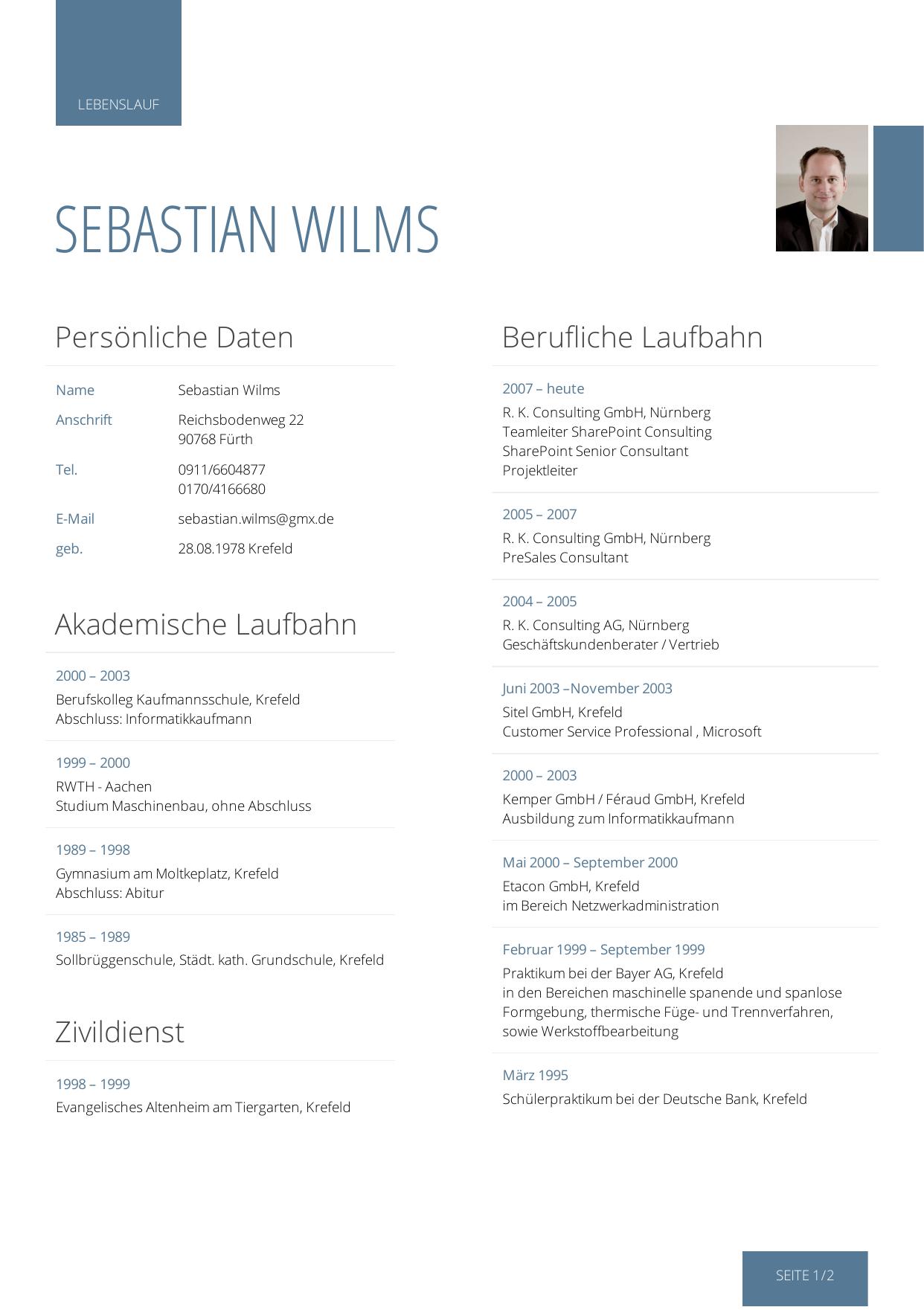 Lebenslauf Sebastian Wilms - SharePoint Forum Stuttgart