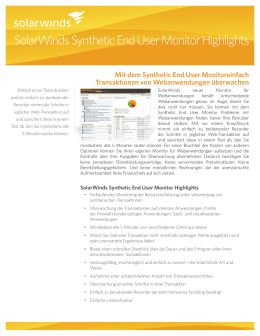 SolarWinds Synthetic End User Monitor Highlights