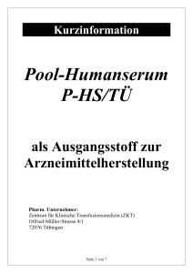 Steckbrief Pool-Humanserum P-HS/TÜ