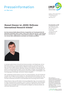 Manuel Zimmer ist - Research Institute of Molecular Pathology (IMP)
