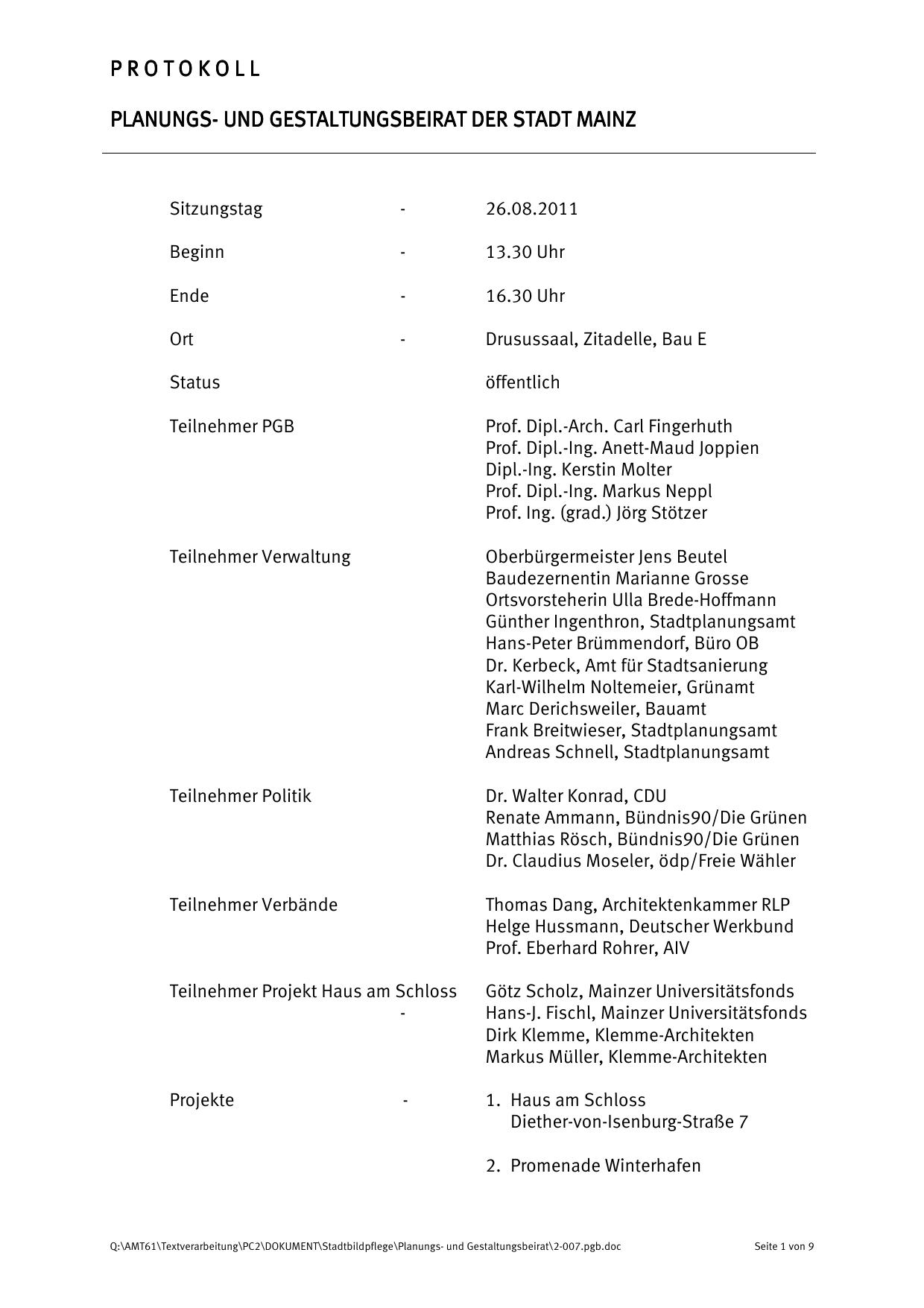 protokollprotokoll planungs- und gestaltungsbeirat der stadt mainz