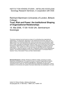 Reinhard Bachmann (University of London, Birbeck College) Trust