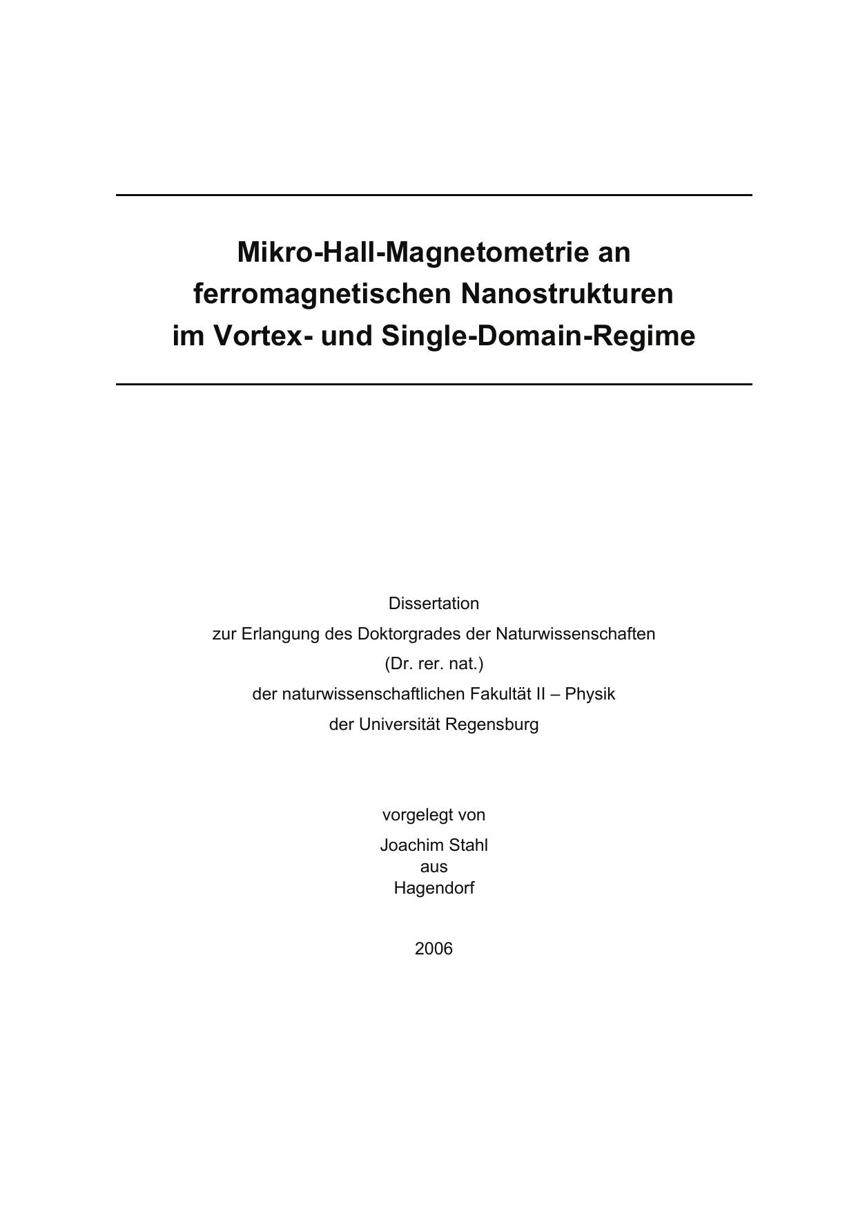Mikro-Hall-Magnetometrie an ferromagnetischen Nanostrukturen im