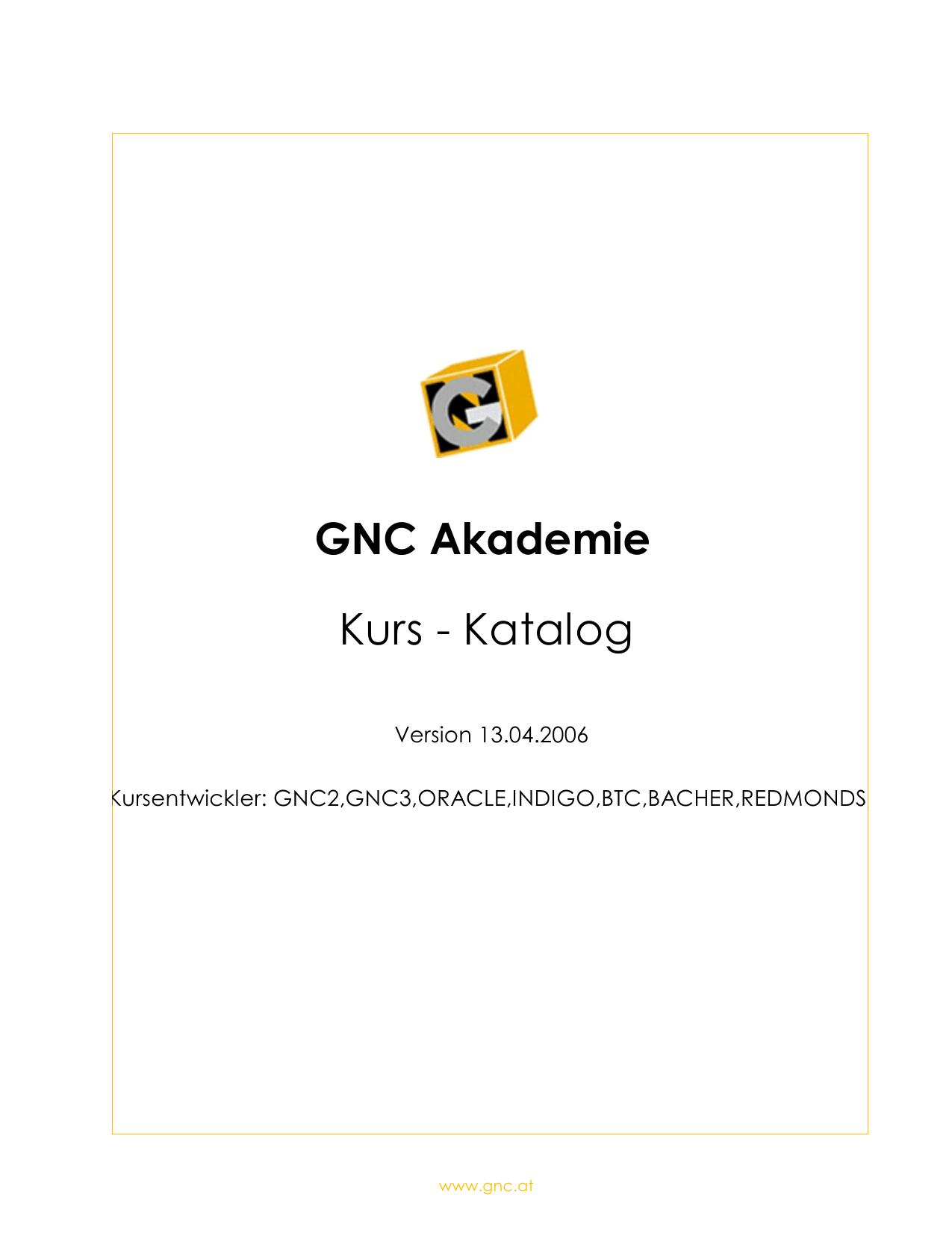 GNC Akademie Kurs - Katalog