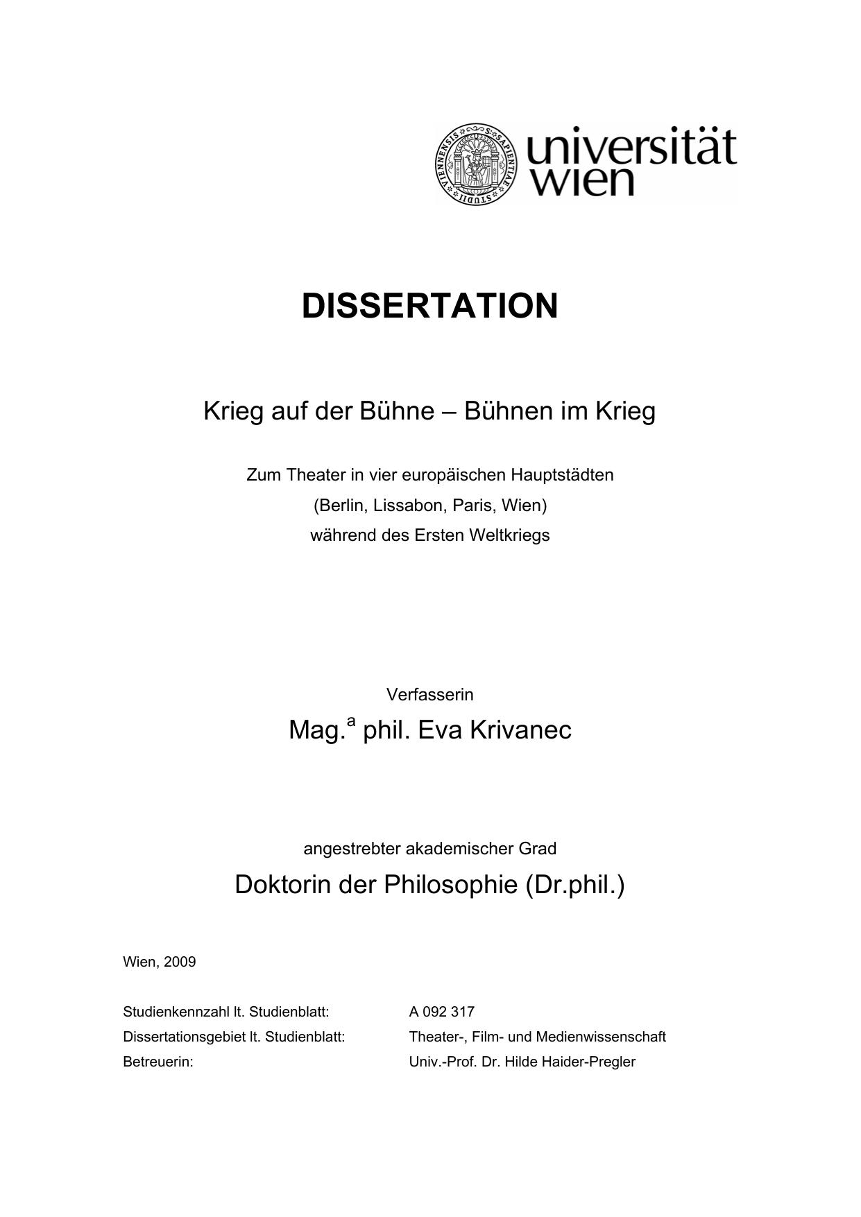 Entwurf für eine Strukturierung der Dissertation E
