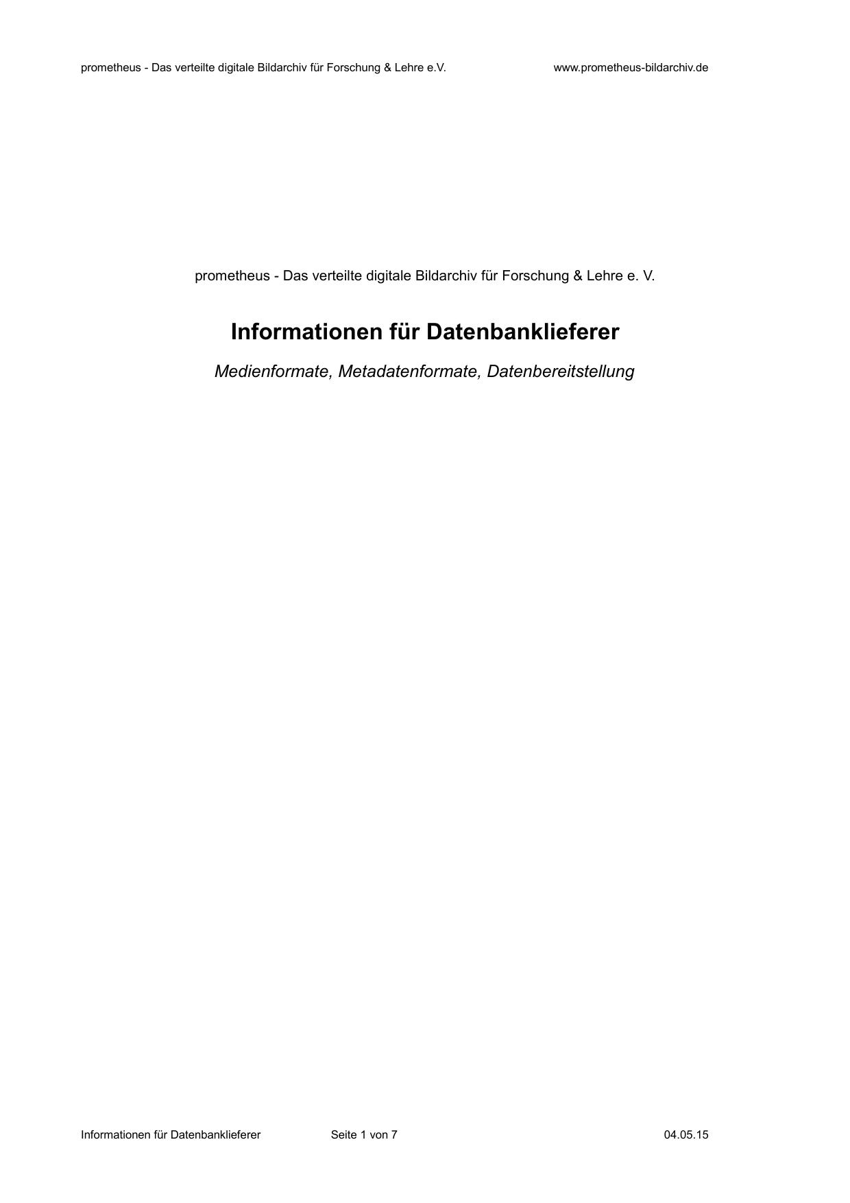 Informationen Für Datenbanklieferer Prometheus