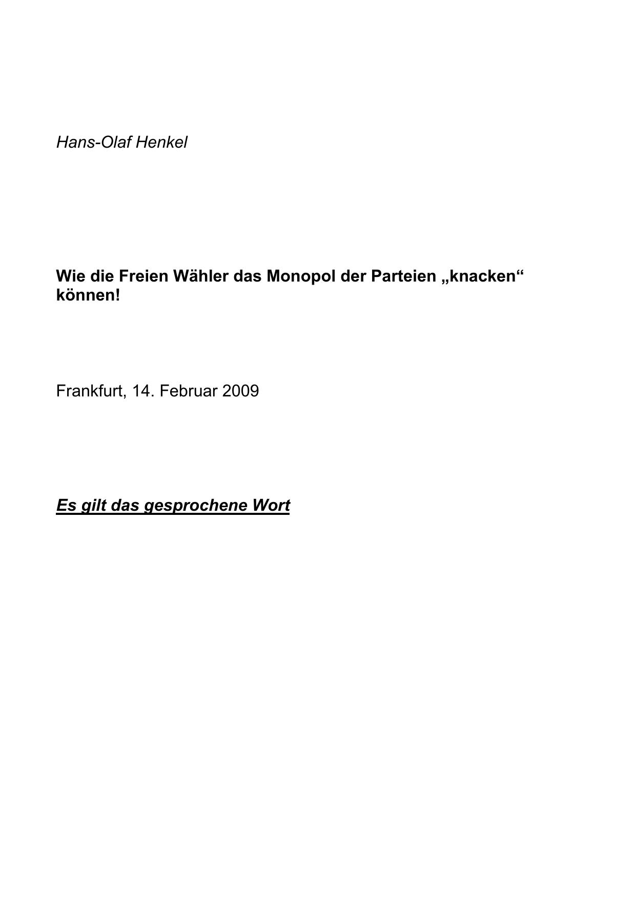 Hans Olaf Henkel Wie Die Freien Wähler Das Monopol Der Parteien