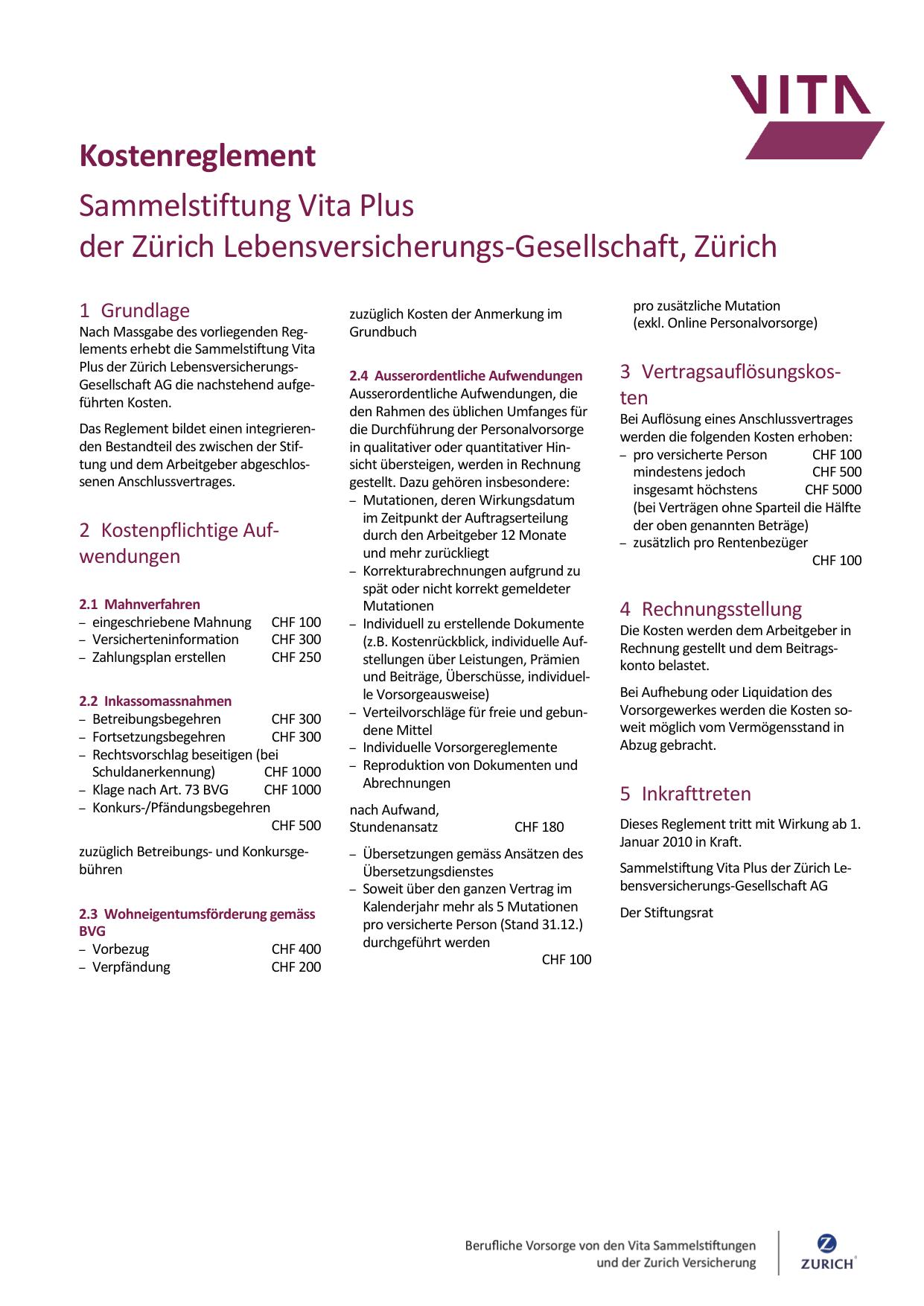Kostenreglement Sammelstiftung Vita Plus Der Zürich