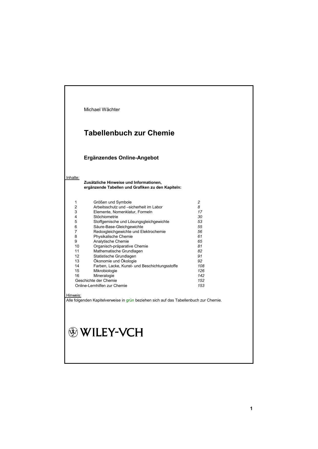 Tabellenbuch Chemie Internet-Ergänzungsangebot - Beck-Shop