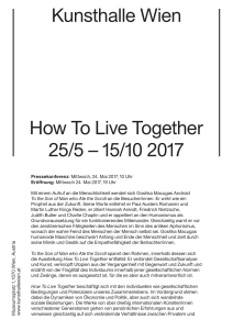 Kunsthalle Wien How To Live Together 25/5 – 15/10 2017