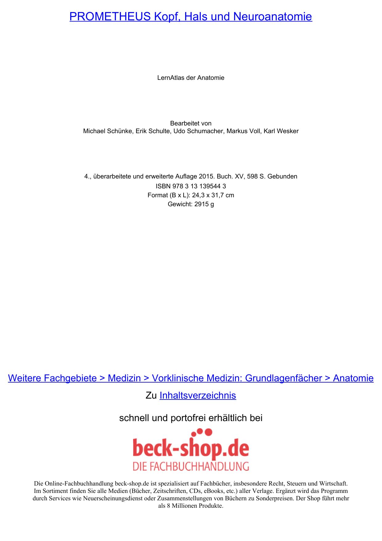 PROMETHEUS Kopf, Hals und Neuroanatomie - Beck-Shop