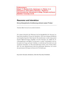 Resonanz und Interaktion - Philosophy of Cognitive Enhancement
