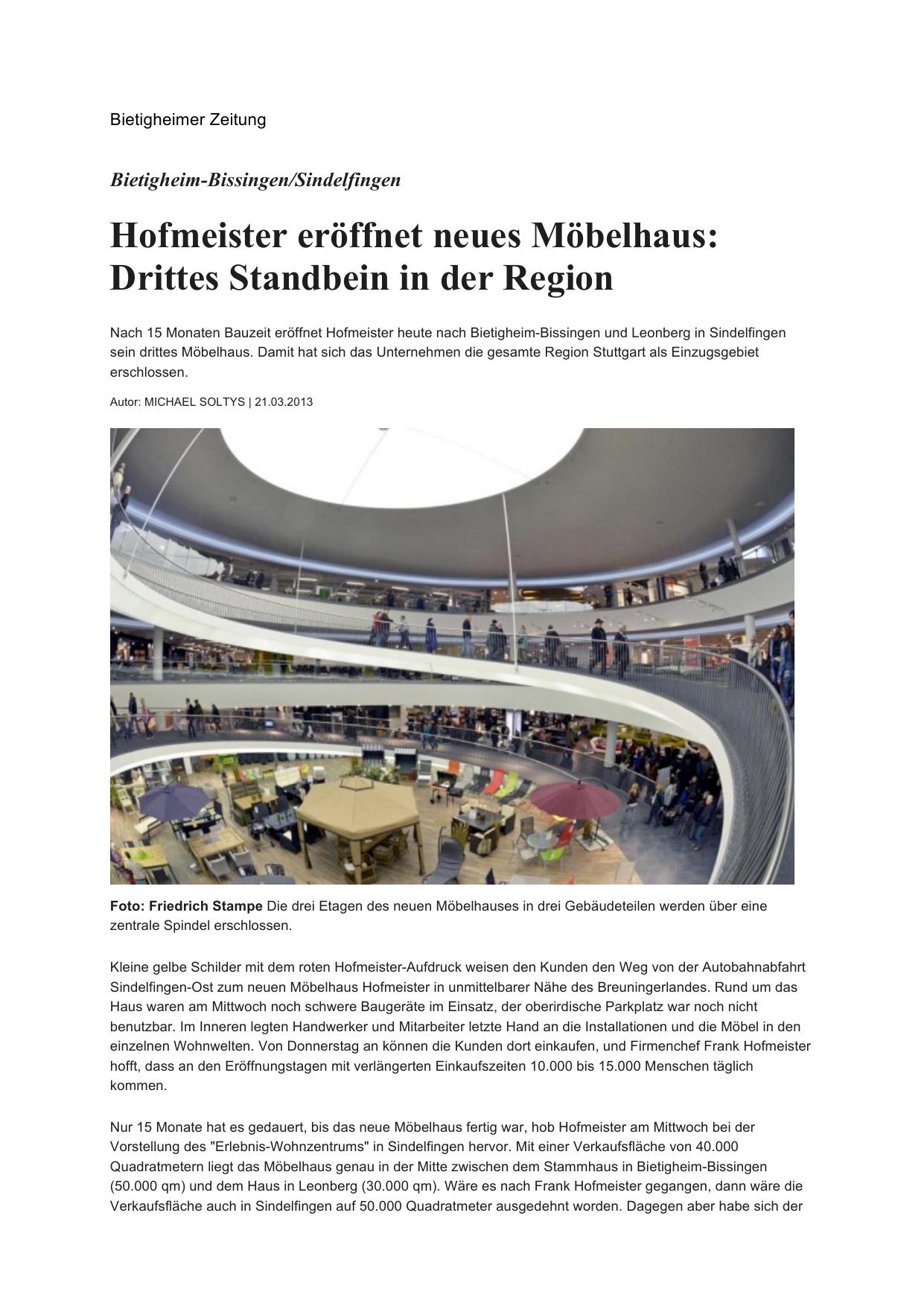 Hofmeister Eröffnet Neues Möbelhaus Drittes Standbein In Der Region