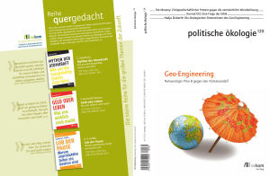 Geschichte des Geo-Engineering. - Global Governance of CLIMATE