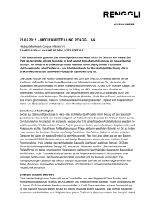 28.05.2015 – MEDIENMITTEILUNG RENGGLI AG