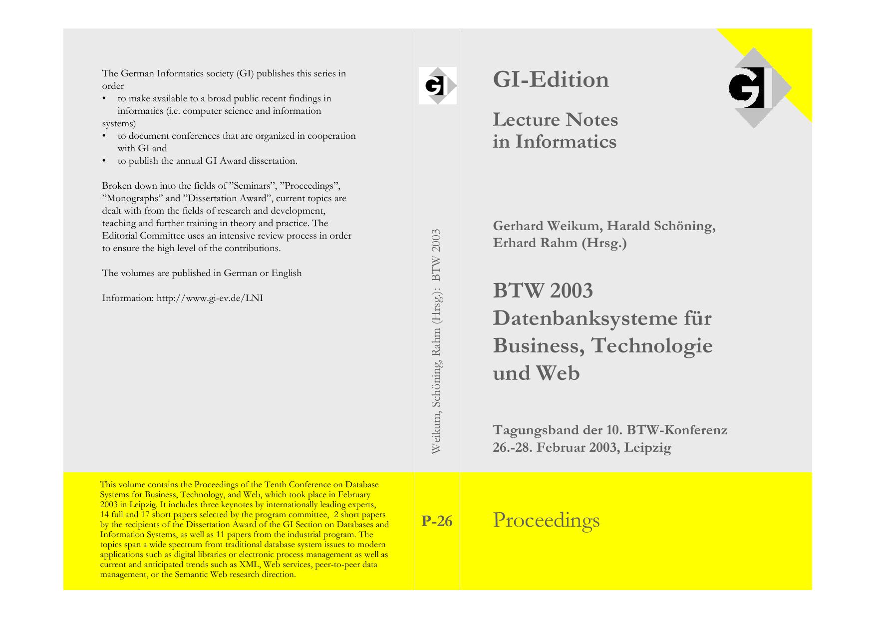 GI-Edition - Abteilung Datenbanken Leipzig
