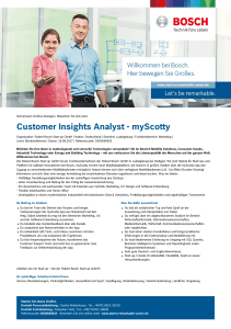 Customer Insights Analyst - myScotty - Bosch