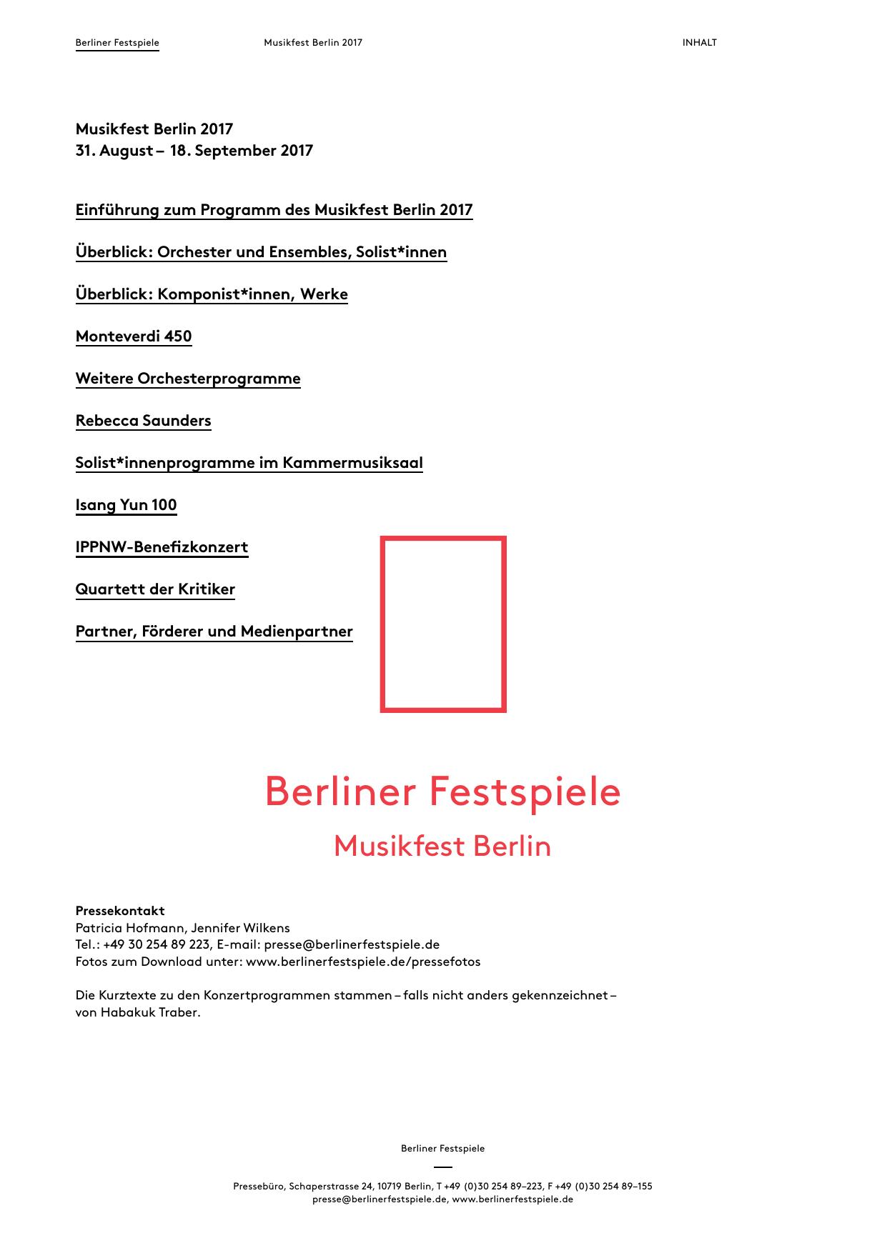 Rebecca Saunders Berliner Festspiele