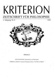 zeitschrift für philosophie - KRITERION | Journal of Philosophy