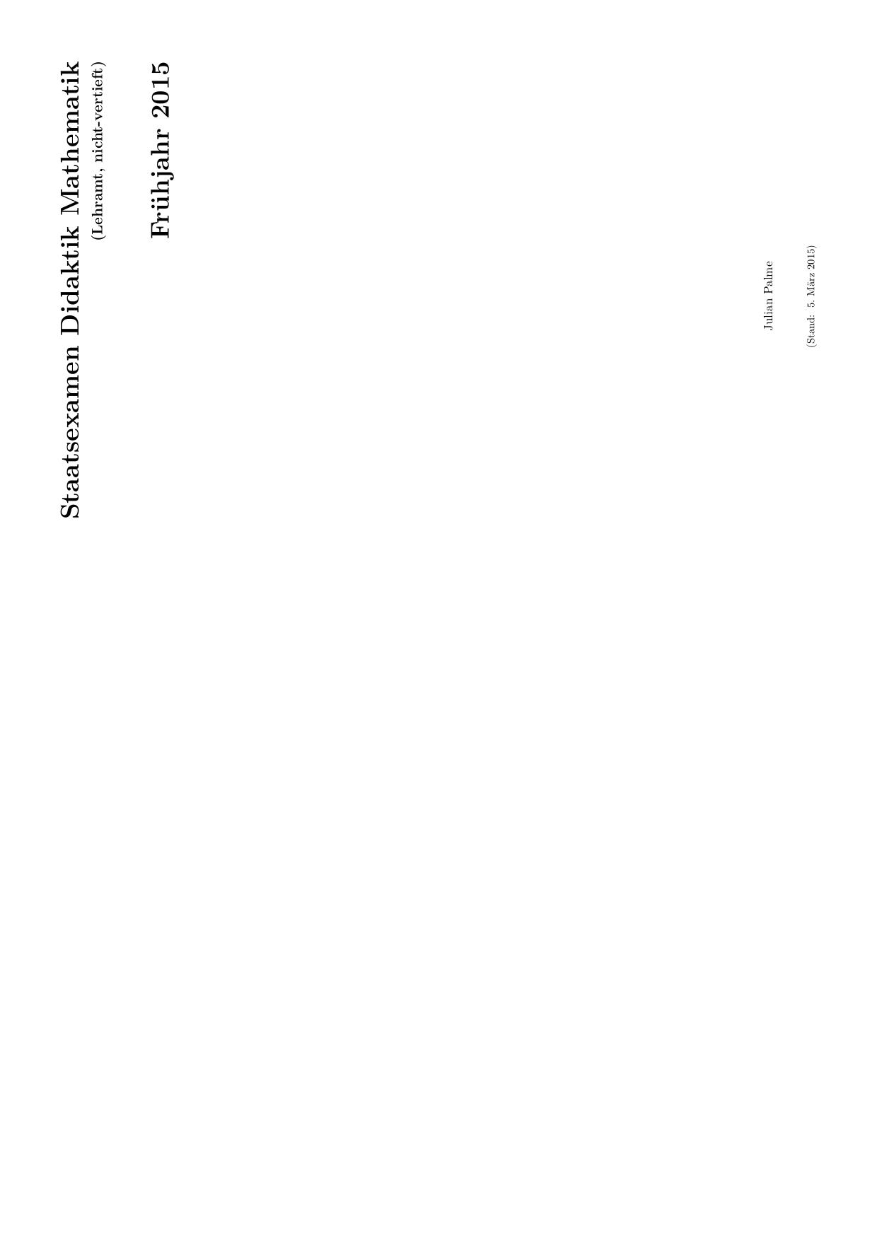 Staatsexamen Didaktik Mathematik F rühjahr 2015