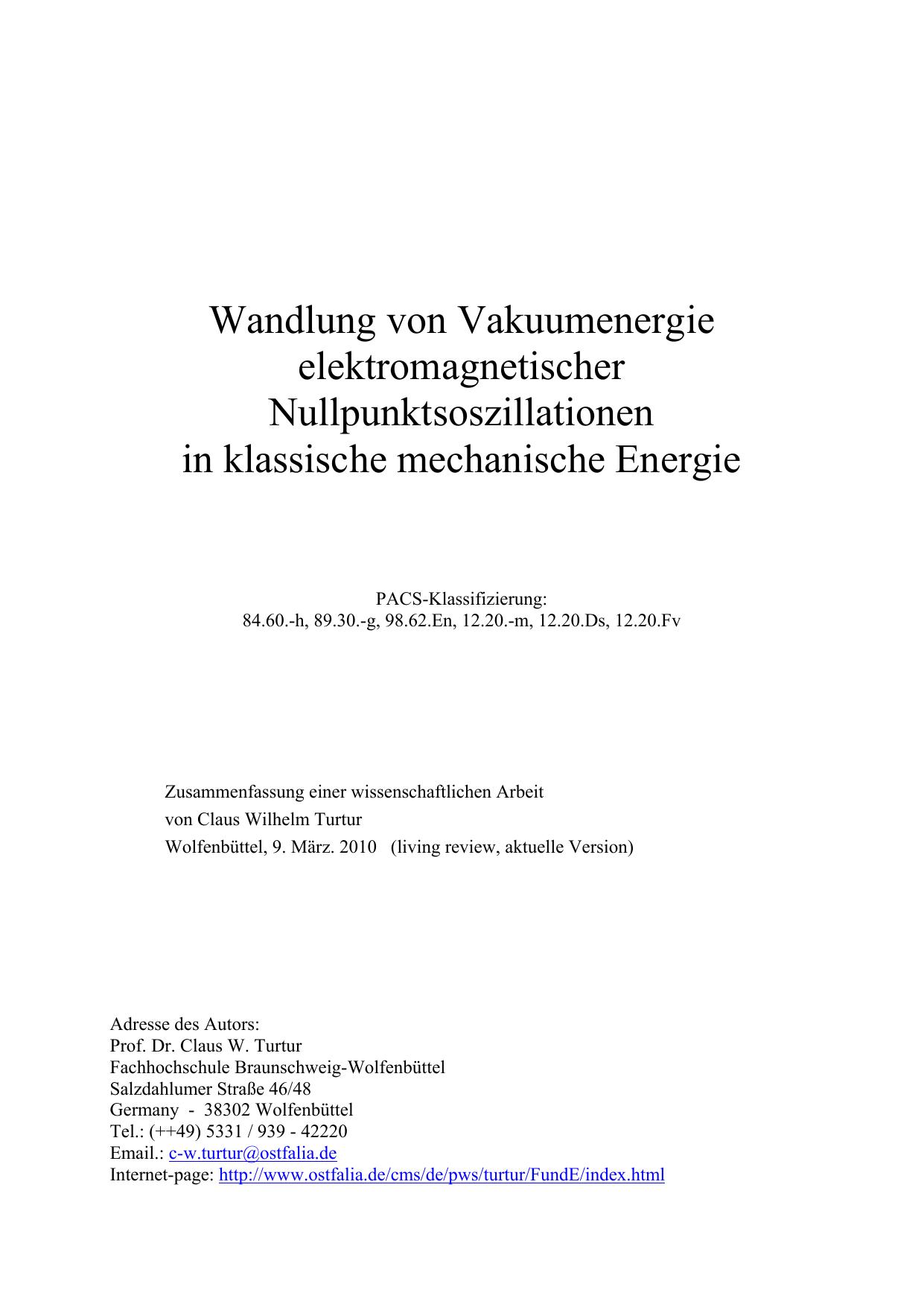 Wandlung von Vakuumenergie elektromagnetischer